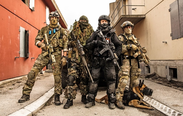 Picture weapons, dog, Norwegian Special Forces