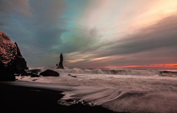 Picture sea, wave, the sky, rocks, shore, Iceland