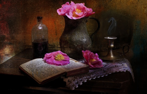 Picture flowers, style, Maki, book, pitcher