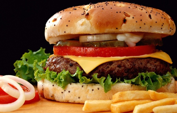 Picture food, cheese, cucumber, bow, sandwich, tomato, hamburger, Patty, slices, roll, French fries, BIG MAC, Burger, ...