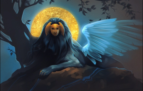 Picture night, wings, mask, art, myth, Sphinx, sphinx