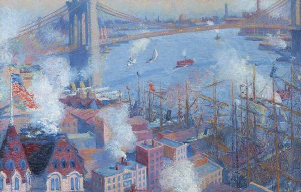 Picture bridge, home, picture, New York, Brooklyn Bridge, the urban landscape, Theodore Earl Butler