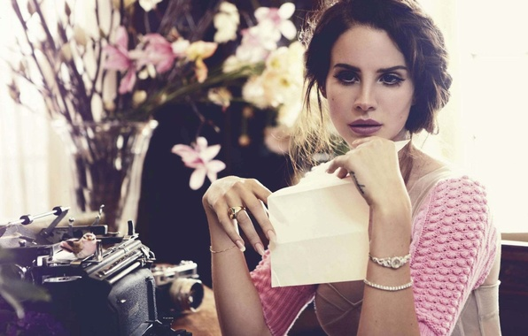 Picture sheet, retro, room, interior, singer, typewriter, the camera, Lana Del Rey