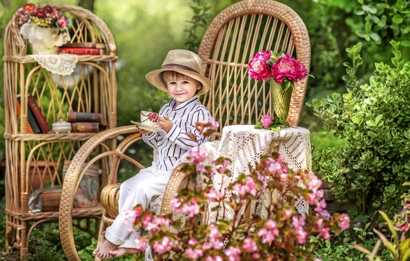 Picture summer, joy, flowers, childhood, comfort, books, chair, hat, boy, garden, the tea party, cottage