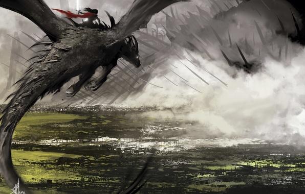 Picture girl, flight, fog, fiction, dragon, smoke, people, art, Yonathan Saura