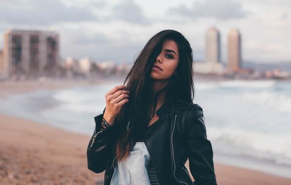 Picture look, brunette, jacket, kozhanka