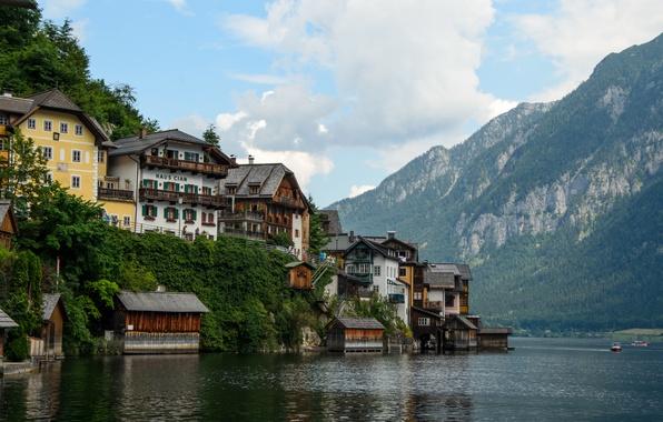 Picture lake, building, home, Austria, Alps, lake, Austria, Hallstatt, alps, Hallstatt