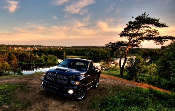 Picture HDR, Black, Trees, Dodge, Jeep, Landscape