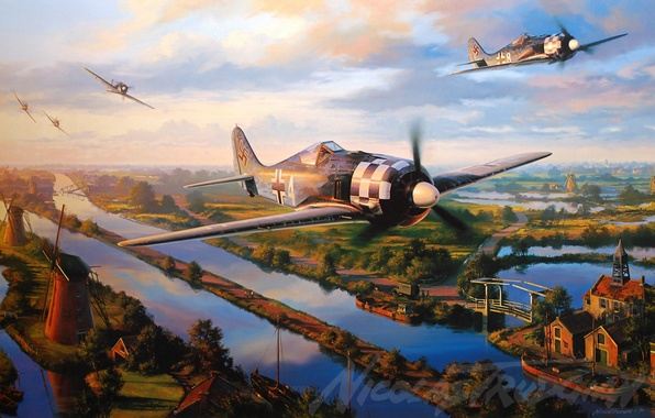 Picture aircraft, war, art, airplane, aviation, ww2, dogfight, fw 190, trudgian