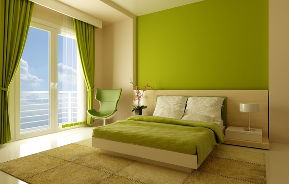 Picture design, style, room, bed, interior, chair, window, green, apartment