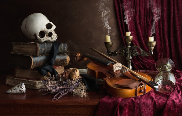 Picture violin, glass, books, skull, candles, still life, the dried flowers