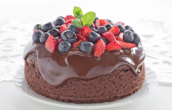 Picture berries, chocolate, blueberries, strawberry, cake, cake, dessert, cakes, sweet, sweet, dessert, berries