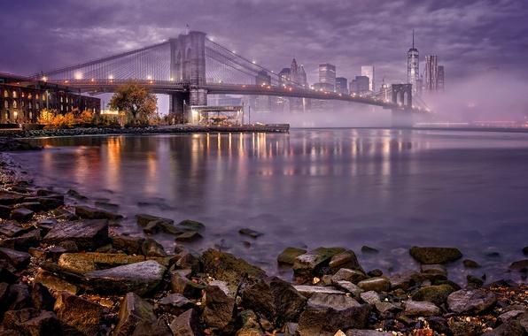 Picture night, bridge, lights, fog, river, home, New York, Bay, USA, Manhattan, promenade