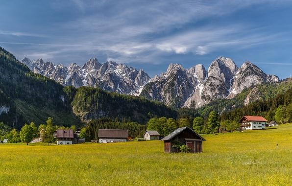 Picture mountains, home, Austria, valley, village, Alps, meadow, houses, Austria, Alps