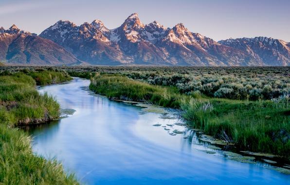 Picture mountains, lake, USA, USA, Wyoming, mountains, lake, Grand Teton, Wyoming, National Park, Grand Teton National …