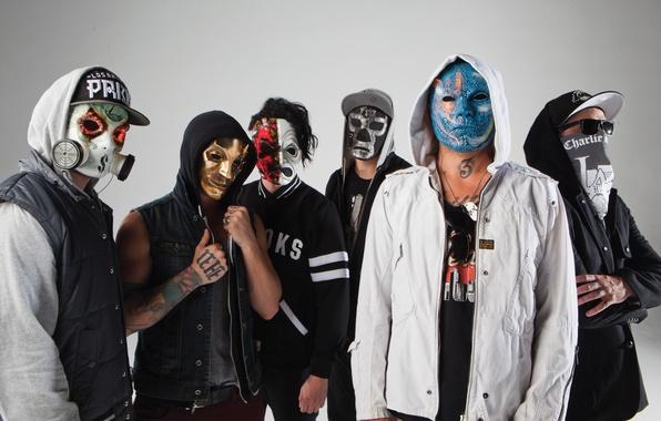 Picture J-Dog, Charlie Scene, Funny Man, Da Kurlzz, Hollywood Undead, mask, Danny, Johnny 3 Tears, Notes …