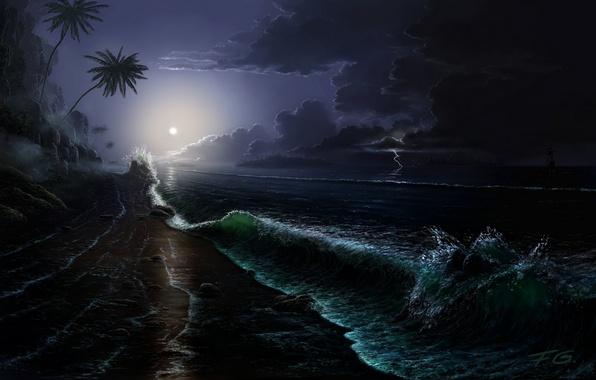 Picture sea, wave, night, clouds, stones, palm trees, rocks, the moon, coast, lightning, ship, island, sailboat, …