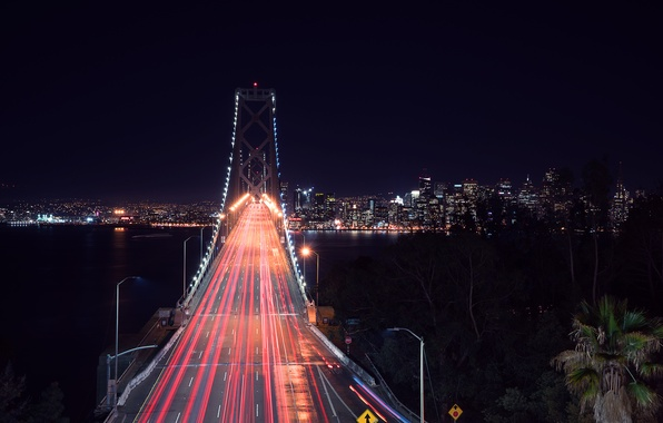 Picture City, Landscape, Road, Bay Bridge, Architecture, San-Francisco, West, Nigth, Scape