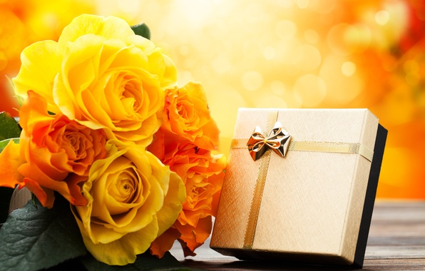 Picture flowers, holiday, gift, roses, bouquet