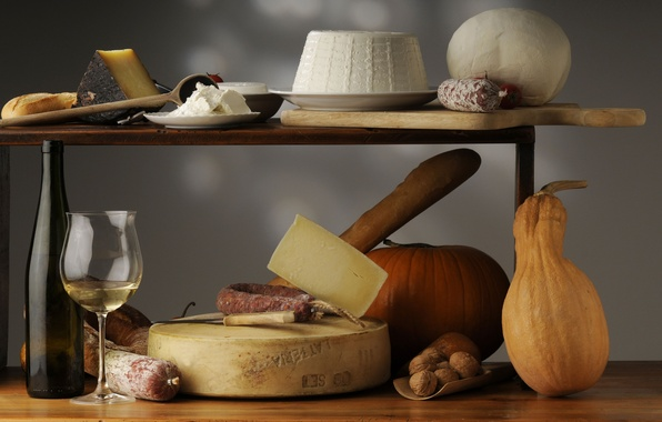 Picture wine, glass, bottle, cheese, pumpkin, nuts, still life, sausage