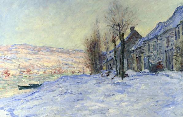 Picture winter, landscape, river, boat, home, picture, Claude Monet