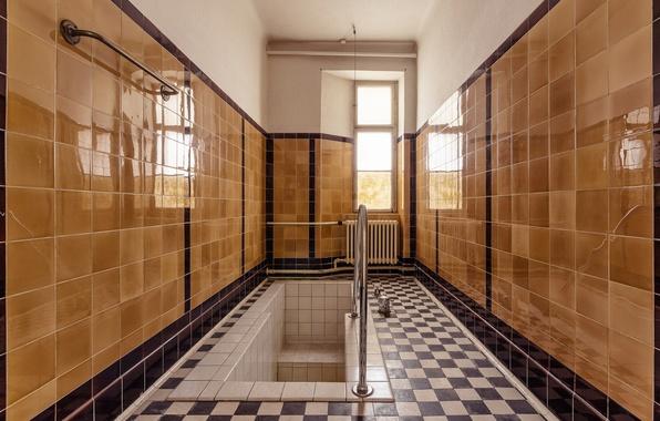 Picture reflection, Windows, mirror, bath, sunlight, bathroom, heater