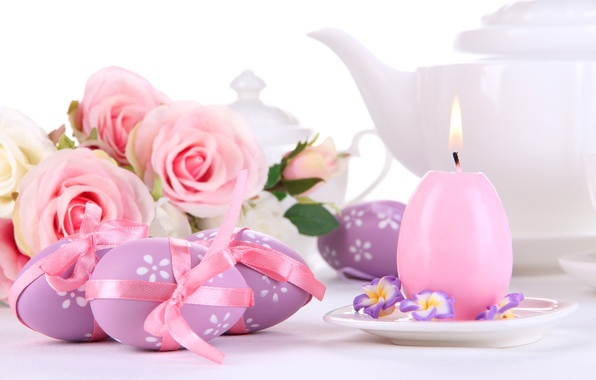 Picture flowers, holiday, roses, candle, eggs, spring, Easter, pink, Easter
