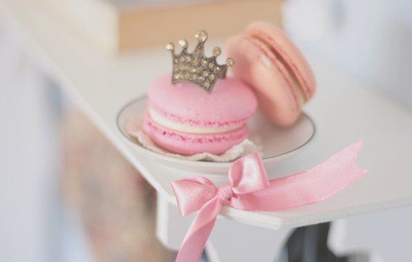Picture background, pink, Wallpaper, mood, food, crown, cookies, plate, tape, cake, bow, dumb-dumb, sweet, HD wallpapers, …