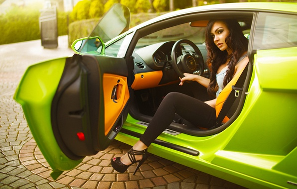 Picture Lamborghini, Girl, Car, Canada, Beautiful, Model, Green, Beauty, Summer, Vancouver, Claudia, Fashion