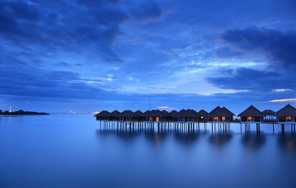Picture sea, the sky, clouds, blue, shore, the evening, houses, calm, Malaysia