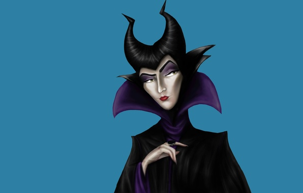 Picture girl, minimalism, blue background, Maleficent, Maleficent