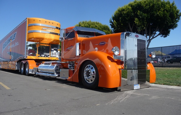 Picture orange, cabin, custom, truck, reliable, big rig, peterbilt
