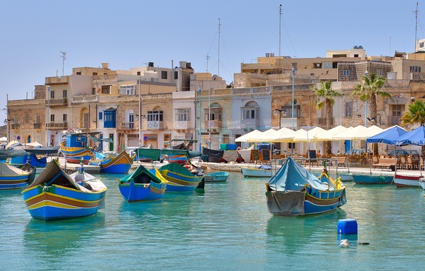 Picture the city, building, home, boats, pier, The Mediterranean sea, Malta, Malta, Marsaxlokk, Marsaxlokk