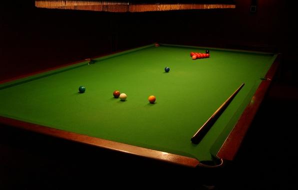 Picture table, balls, sport, Billiards, cue, chandelier., snooker