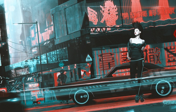Picture machine, cat, girl, fiction, street, art, cyberpunk, punk