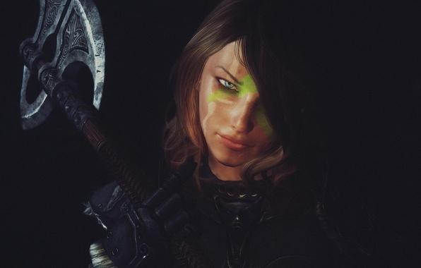 Picture look, girl, rendering, background, axe