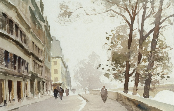 Photo wallpaper picture, watercolor, the urban landscape, Edward Seago, Nov. Ile-de-La-La enough. Paris