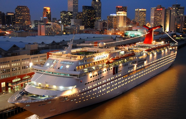 Picture photo, Night, Pier, Ship, Carnival Fantasy, Cruise liner