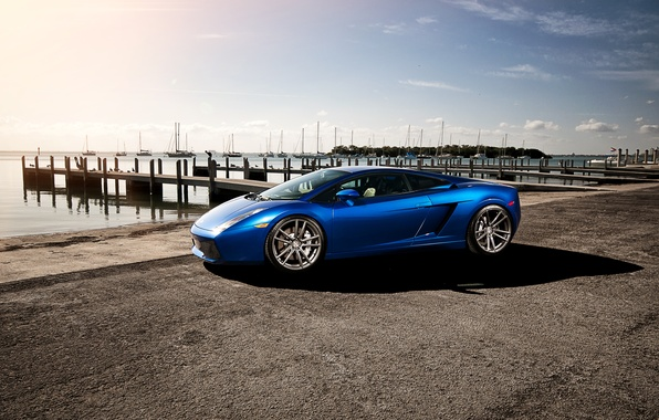 Picture the sky, clouds, blue, yachts, Lamborghini, pier, Gallardo, Lamborghini, blue, Lamborghini, the front part, Gallardo