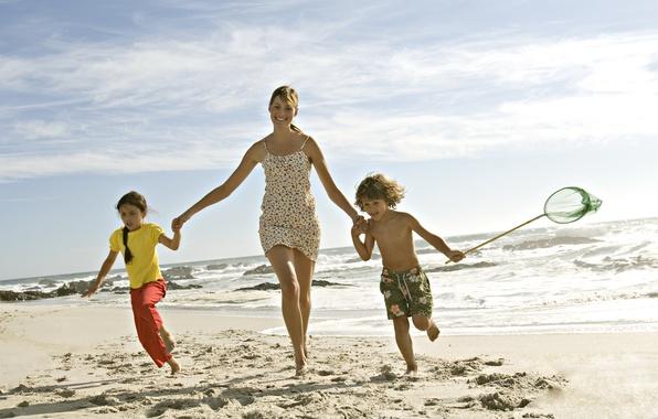 Picture sand, sea, beach, girl, children, mood, child, family
