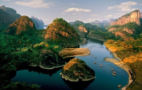 Picture the sky, trees, mountains, nature, rock, river, island, boats