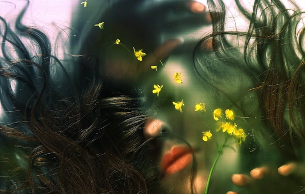 Picture glass, water, girl, flowers, hair