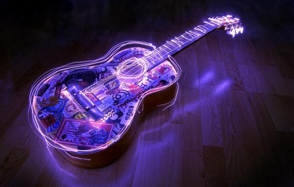 Picture guitar, waves, acoustics
