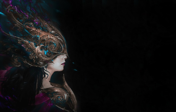 Picture girl, feathers, mask, art, profile, black background