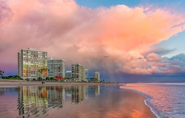 Picture beach, clouds, CA, pink, San Diego
