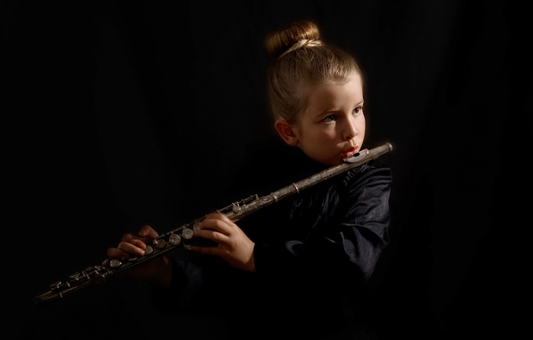 Picture music, girl, flute