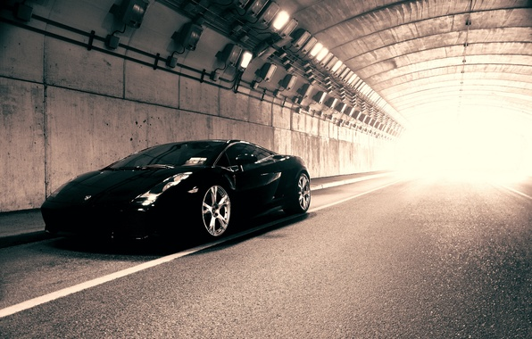 Picture light, Lamborghini, black, the tunnel, Gallardo, black, Blik, Lamborghini, Lamborghini, Gallardo