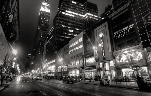 Picture night, city, the city, lights, lights, people, building, New York, taxi, black and white, night, …