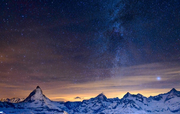 Picture the sky, stars, mountains, night, Alps, the milky way