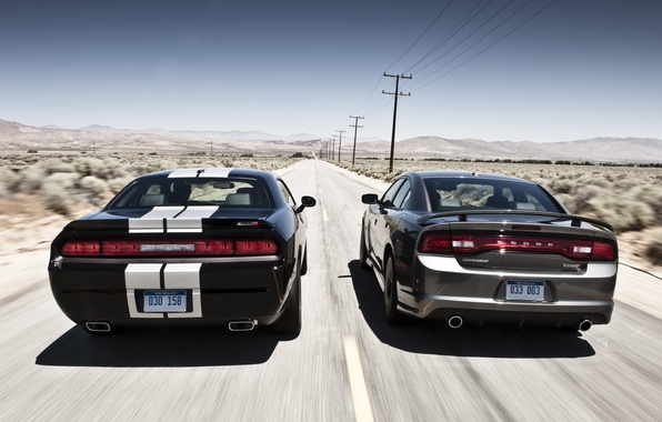 Photo wallpaper the sky, coupe, sedan, Dodge, rear view, dodge, challenger, charger, srt8, the charger, Muscle car, ...
